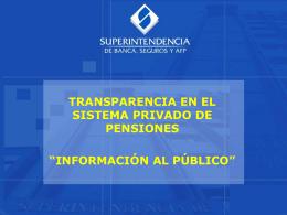 información al público - Superintendencia de Banca y Seguros