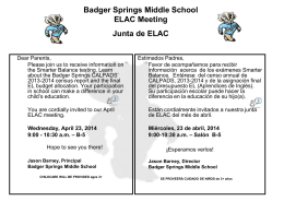 ELAC Meeting Junta de ELAC - Badger Springs Middle School