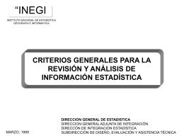 CRITERIOS GENERALES PARA LA REVISIÓN Y