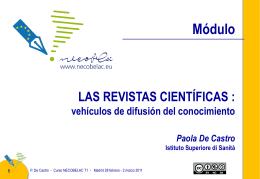 Paola De Castro: Las revistas científicas