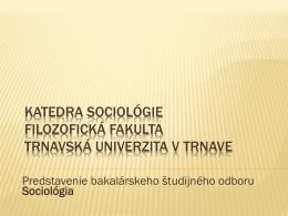 Sociológia - Filozofická fakulta TU