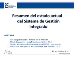 Presentación del SGI al Responsable del Proceso AD
