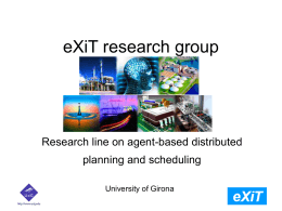 eXiT research group Research line on agent