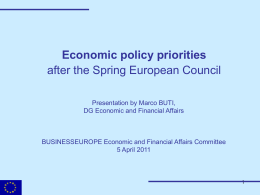 Economic policy priorities, after the Spring European Council.