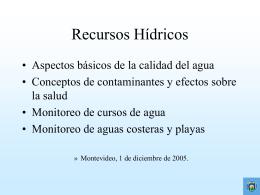 RECURSOS HÍDRICOS - GAM - Grupo Ambiental de Montevideo