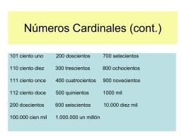 Números Cardinales (cont.)