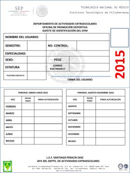 gafete para gimnasio 2015 - Instituto Tecnológico de Villahermosa