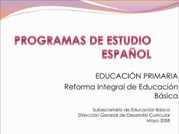 Programas de estudio Español. Educación primaria