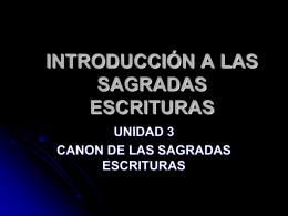 INTRODUCCIÓN A LAS SAGRADAS ESCRITURAS