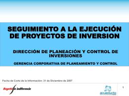 gestión de inversiones - Empresa de Acueducto de Bogotá