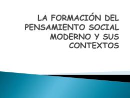 LA FORMACIÓN DEL PENSAMIENTO SOCIAL MODERNO