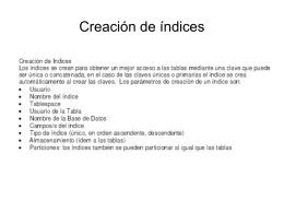 Creación de índices