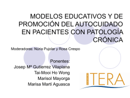 MODELOS EDUCATIVOS Y DE PROMOCIÓN DEL AUTOCUIDADO