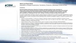 CV Hector Peraza 01302012- - CBM Ingeniería Exploración y