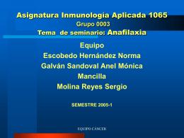 DEFINICION. Anafilaxia