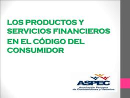 los productos y servicios financieros en el código del consumidor i.