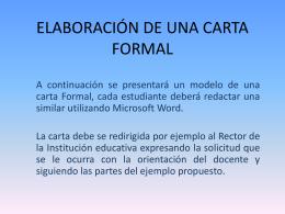 elaboración de una carta formal - ESTUDIANTES-INESAFA