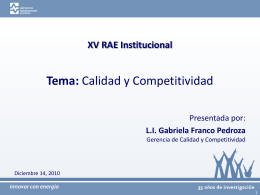 Presentación del Tema: Calidad y Competitividad