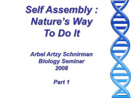 Self Assembly: Nature way to do it
