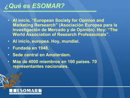 ESOMAR European Society for Opinion and Marketing