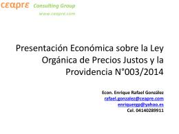 Presentación Económica sobre la Ley Orgánica de Precios Justos y