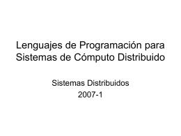 Lenguajes de Programación para Sistemas de Cómputo Distribuido