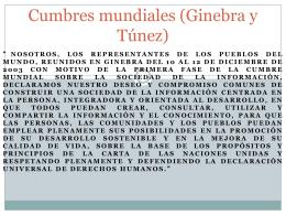 Cumbres mundiales (Ginebra y Túnez)