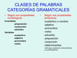 clases de palabras categorías gramaticales