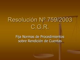 Presentación Resolución Nº 759/03