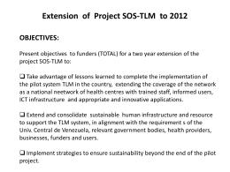 Proyecto SOS Disponibilidad presupuestaria a marzo, 2010