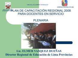 plan de capacitación regional 2008 para docentes en servicio
