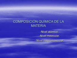 COMPOSICIÓN QUÍMICA DE LA MATERIA