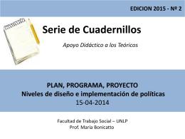 Teórico Nro. 2 Plan, Programa, Proyecto Niveles de diseño e