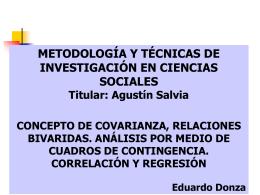 concepto de covarianza, relaciones bivariadas. análisis por medio