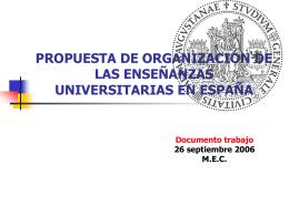 organizacón de las enseñanzas universitarias en españa