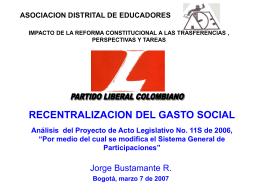 Evolución Normativa de las participaciones territoriales Art. 356 y 357