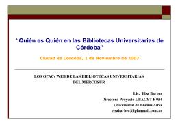 Los OPACs Web de las bibliotecas universitarias del Mercosur