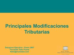Principales Modificaciones Tributarias