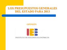 LOS PRESUPUESTOS GENERALES DEL ESTADO PARA 2012