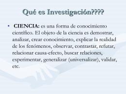 Qué es Investigación???? - OE0202-INVESTIGACIONEE-ACES
