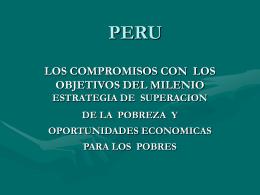 Perú, Los compromisos con los objetivos del milenio