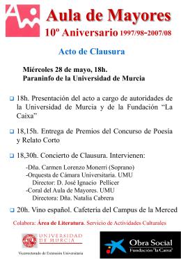 Aula de Mayores 10º aniversario 1997-2007
