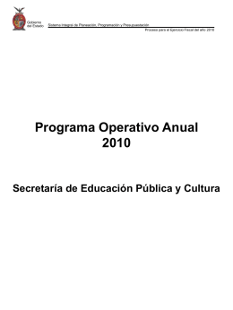 Programa Operativo Anual 2010 SEPYC