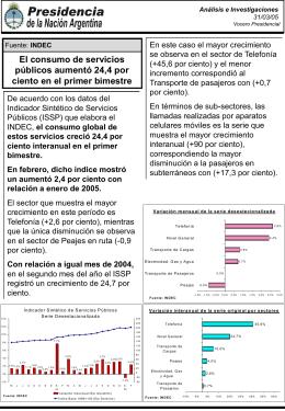 Informe del INDEC sobre servicios públicos