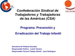 Programa: Prevención y Erradicación del Trabajo Infantil