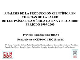 análisis de la producción científica en ciencias de la salud
