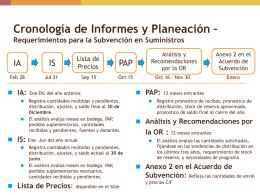 Cronología de Informes y Planeación – Requerimientos para la