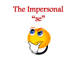"The impersonal ""se"""