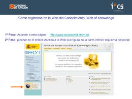 Guía de consulta en la WOK - Instituto Aragonés de Ciencias de la