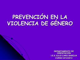 PREVENCIÓN EN LA VIOLENCIA DE GÉNERO